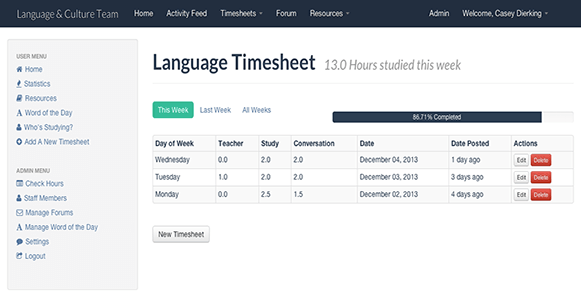 Language Timesheet Application